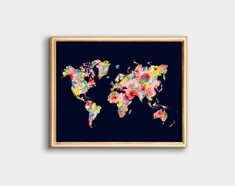 Floral world map PRINTABLE - Navy Blue -  Nursery art - Office Decor - Trendy Wall Art - Dorm Room Decor - Horizontal Landscape - SKU:3526