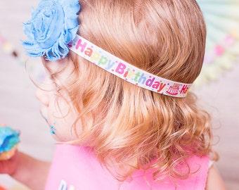 Happy Birthday headband baby headband toddler headband girls headband flower headband elastic headband Birthday photography
