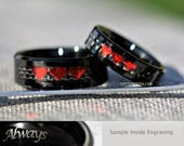 6MM And 8MM Ruby Red Chrome 8 Bit Hearts Tungsten Wedding Set, Free Inside Engraving