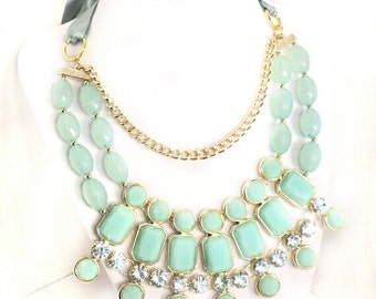 Seafoam Mint Green Statement Necklace - Bib Necklace - Mint Bib Bubble Crystal Necklace