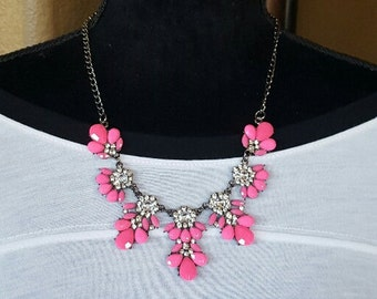 Statement Necklace Hot Pink Crystal Flower Cluster Chandelier Statement Necklace Weddings Bridesmaids Proms Chunky Necklace