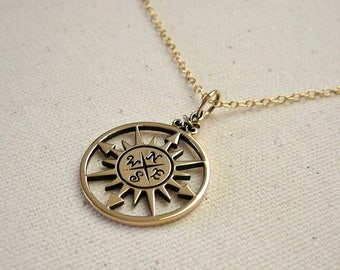 Bronze Compass Necklace, Compass Rose Pendant on Gold Filled Chain - Graduation Gift, Journey Necklace, Traveler Jewelry