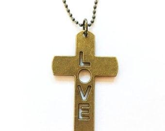 Love Cross Necklace - Antique Bronze Love Cross - Large Bronze Cross Necklace - Free Shipping - LOVE Cross