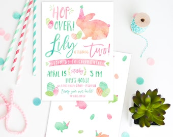 Easter Bunny Birthday Party PRINTED INVITATIONS watercolor invites pastel spring time birthday Easter Bunny party Easter Egg Hunt Birthday