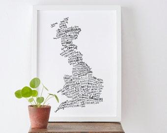 British Food Map print - Food Print - Map Poster - Food Poster