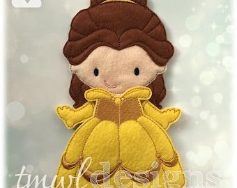 Beauty Ballgown Dress Felt Paper Doll Toy Outfit Digital Design File - 5x7