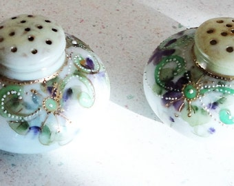 Antique Handpainted Salt and Pepper Shakers No Markings Visible Vintage Home Decor