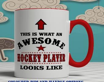 Awesome hockey player mug, hockey player gift, hockey mug, hockey gift, mug for hockey player gift for hockey player hockey gift idea  E1043