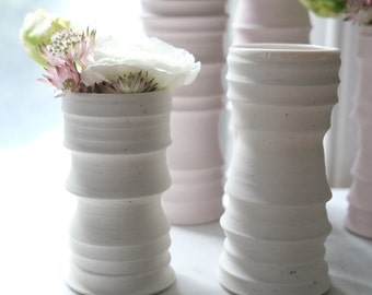 Set of 2 Textured Cylinder Vases, in Warm White with pink speckles