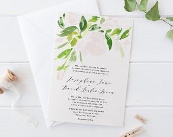 Greenery Wedding Invitation Set,Printable Elegant Wedding Invitation,Garden Wedding,Natural Watercolor Suite, Botanical Invite, Green Leaves