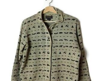 Vintage Woolrich Animals/Trees printed Sweatshirt Cardigan from 90's*