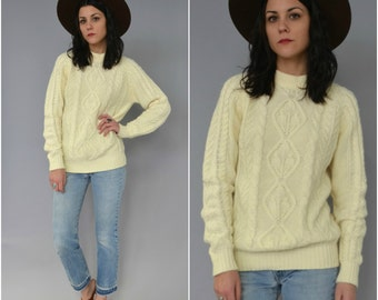1970s cable knit pullover sweater - size medium