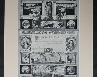 Victorian Amalgamated Association of Operative Cotton Spinners Print, Trade Union Decor, Available Framed, Textile Art, Amalgamation Gift