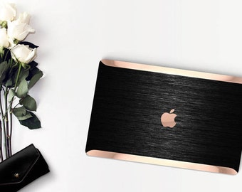 Black Brushed Metallic and Rose Gold Edge Detailing Hybrid Hard Case for Apple Macbook Air & Mac Pro 13 Retina - Platinum Edition