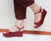 Trendy red leather vintage wedge platform shoes with straps from 90s