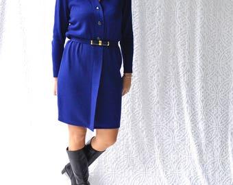 1980s St. John Knit Dress || 80s Royal Blue Sweater Dress. Cobalt Blue St John Marie Gray Knit Shirtdress. Retro 80s Knit Dress w. Belt || 6