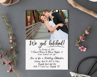 We got Hitched! Elopement, Wedding Announcement, Post-Wedding Reception invitation + RSVP card, calligraphy with photo