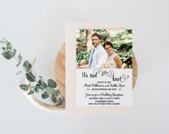 Wedding Reception invitation, We tied the Knot! Elopement Announcement for horizontal photo