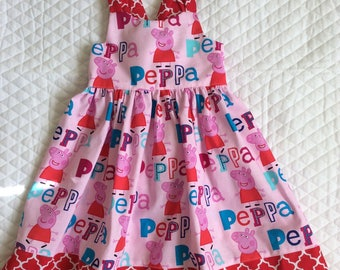 Girls Peppa pig birthday halter sundress Sze 4T