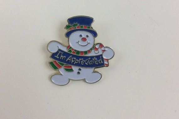 Pinback collectors, I'm appreciated snowman, free US shipping Christmas pin, holiday pin, positive promotions pin, vintage snowman pinback