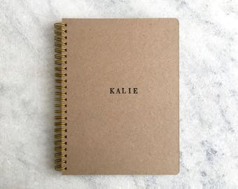 Custom Notebook, Personalized Journal, Kraft Bullet Journal, Custom Journal, Personalized Notebook, diary, gifts for grads