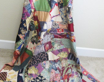 Crazy Quilt made from Dress Remnants 55 x 75  Handmade