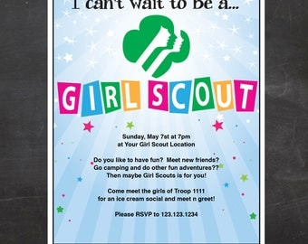 Girl Scout Recruitment Flyer -  {Instant Download}, Girl Scout Printable, Girl Scout Leader, Fillable PDF