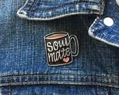 Enamel Pin - Coffee Soulmate Enamel Pin - Coffee Brooch - Coffee lover pin - Best friend gift for her - black lapel pin - PIN9