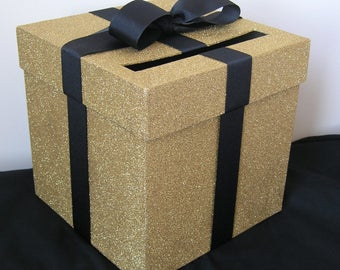 """XL Gold and Black Wedding Card Box with Bow 12.5"""" x 12.5"""" Choose your colors"""
