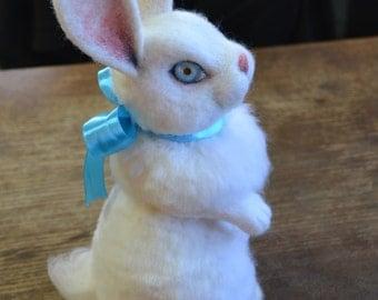 Needle felted animal - White Fluffy Rabbit - bunny - Home decor - Luxury toy - Gift idea