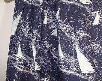 "Nautical Map CURTAINS, Navy and Spa Blue Sailboats,Sailing,Nautical,Pair Drapery Panels,24"" Wide,52"" Wide,Valance"