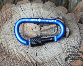 Personalized Coordinates Carabiner Keychain Latitude Longitude Key Chain GPS Coordinates Custom Gift