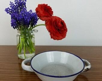 Vintage White with Blue Edge Enamelware Dish with Handles, Industrial Farmhouse Kitchen Decor