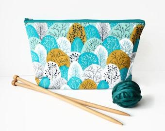 Medium Knitting Project Bag, Teal Knitting Bag, Gifts For Knitters, Zipper Pouch, Yarn Bag, Sock Sack