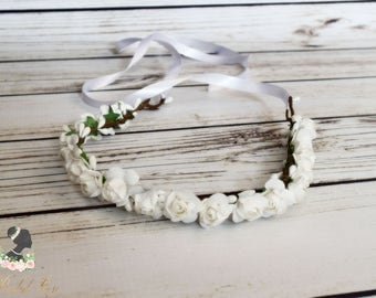 Handcrafted White Rose Flower Crown - Flower Girl Crown - White Flower Halo - White Bridal Crown - Woodland Crown - White Rose Headband