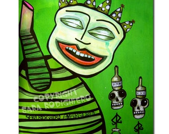 Clown Outsider Art on paper,green Art Brut,10.7 x 11.5 inches,skull