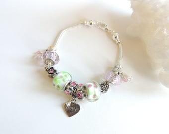 Euro Beads Bracelet, Charm Bracelet, Women's Bracelets, Euro Bead Jewelry, Mothers Day Gift, Mom Gift, Heart Charm Bracelet