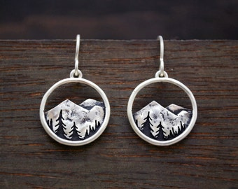 Mountain Range Dangle Earrings - Sterling Silver - Mountain and Trees - Artisan Metalwork Nature Earrings - Gift for Nature Lovers