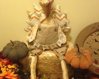 Primitive Large Turkey Doll, Handmade Thanksgiving Fabric Turkey Doll, Thanks Banner