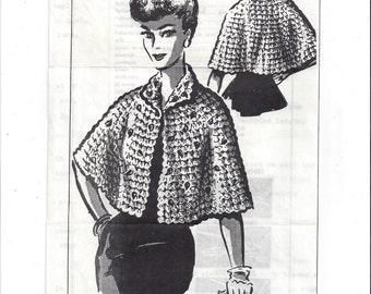 Mail Order Pattern 153 for Misses' Crocheted Cape Stole, 1960s, Knoxville News-Sentinal, Vintage Pattern, Home Crafts, Mail Order Pattern