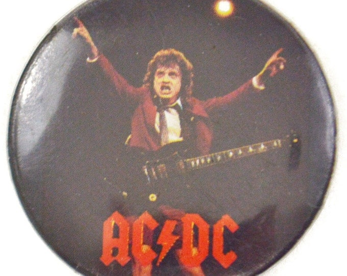 Vintage 80s AC/DC Angus Young Pinback Button Pin Badge