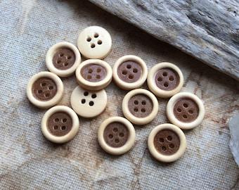 100x Wooden Buttons C88