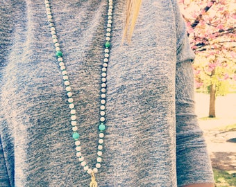 Mala, Yoga Necklace, Japa Mala, Mala Necklace, 108 Mala Beads, Hand Knotted Mala, Meditation Beads,Yoga Jewelry,Prayer Beads,White Mala,MKHC