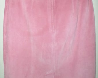 Maggie Lawrence Genuine Leather Suede Pink Skirt Womens Size 12 Vintage CHIC