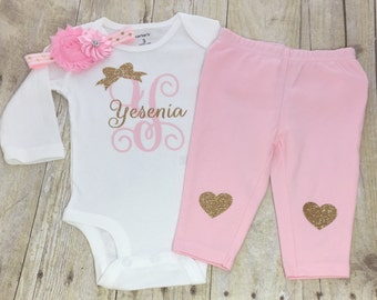 Baby Girl Clothes-Personalized Name Bodysuit-Girls Coming Home Outfit-Girl Baby Shower Gift-Name-Baby Girl Bodysuit-Hopspital Outfit