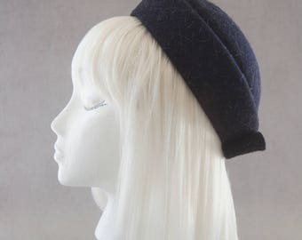 Black Pillbox Hat. Women's Felt Hat. 1960s Style Elegant Hat. Porkpie Perching Hat. 1950s Vintage Inspired. Kate Middleton Cocktail Hat.