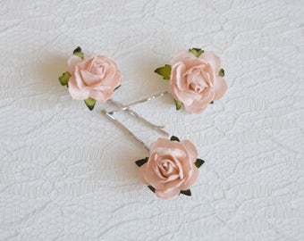 Peach Rose Clips, wedding hair accessories, bridal hair clips, peach rose pins, flower hair clips, rose bobby pins, flowergirl, bridesmaid