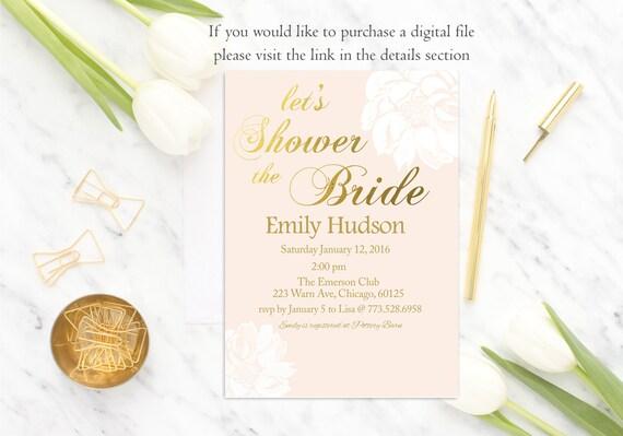 Floral Bridal Shower Invitation Pink Bridal Shower Invite, Gold and Pink, Wedding Shower Invitation, blush pink, modern, Digital or Printed