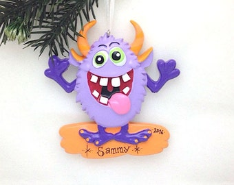 FREE SHIPPING Purple Monster Personalized Christmas Ornament / Toddler Christmas Ornament / Little Boy / Little Girl / Goofy Purple Monster