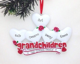 FREE SHIPPING 5 Grandchildren Personalized Christmas Ornament / Grandparents Ornament / Grandmother Ornament / Grandfather Ornament